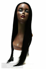 Malaysian Long Straight 100% Human Blended Black Omaha Lace Front Wig