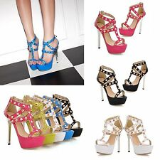 Fashion Women High Heels Rivet Shoes Stilettos Sandals Platforms Ankle Zipper