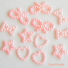 20-1000pcs Pink Shaped Pearl Ribbon Bow Heart Star Scrapbook Craft Hollow