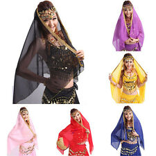 Belly Dance Costume Chiffon Bollywood Gold Trim Veil Shawl Face Scarf Headscarf