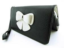 BLACK & WHITE BUTTERFLY PREMIUM PU LEATHER WALLET POUCH PHONE CASE COVER