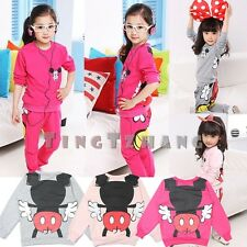 Baby Children Girl Minnie Mickey clothes,Sport Suit,Long sleeve Tshirt+pants set