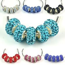 5x, 10x, Crystal Bead fit European Charm Bracelet Color Choose