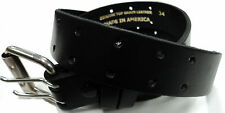 """1 1/2"""" American Made Double Prong Buckle Rugged 1 Piece Solid Leather Belt"""