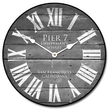 """Large wall Pier 7 Gray Clock,12""""- 48"""" Whisper Quiet, Non-Ticking"""