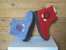Lovely Red/Lilac Girls Kids Ankle Zipped Suede Leather Boots New UK size 11-2