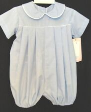 Lullaby Set  890M  Blue Mini Check  Romper w White Piping.  Boy's 12-24 M_.  NWT