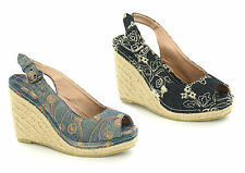 Ladies Womens High Heel Wedge Peep Toe Espadrille Slingback Sandals Shoes Size