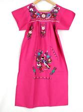 Genuine Mexican women's dress new hand embroidered pink boho size S M L