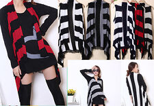 Womens stripes Loose Sleeve Bat Wing Sweater Top Open Cardigan Shawl Cape Jacket