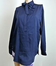 $995 NEW Authentic Gucci Silk Shirt Top w/Neck Tie, Navy, 292756