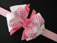 Baby Girls Pink White Chevron Zig Zag Layered Easter Spring Hair Bow Headband