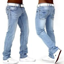 Herren Jeans Designer Hose Denim Authentic Destroyed Clubwear Slimfit White-Sky