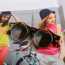 Steampunk Goggles Glasses Round Vintage Hippie Flip Up Cyber Sunglasses R NoE8PL