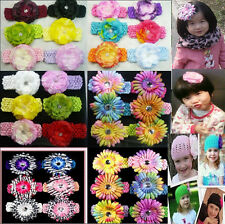 6PCS Set Cute Girls Baby Hat Clothes Flower Hairbow Clip Crochet Lady Headbands