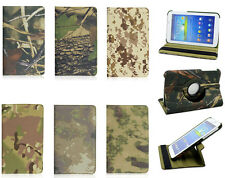 360 Rotating Camo Straw Branch Canvas Case Smart Cover for Samsung Apple Tablets