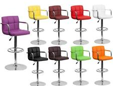 BAR STOOL ~ Contemporary Quilted Vinyl with Arms  Adjustable Height  Chrome Base