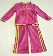 NEW Girls ADIDAS 2 Piece Velour Pants/Jacket Track Suit Set Pink w/Gold Stripes