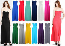 New Womens Bow Knot Style Tie Strapless Maxi Bandeau Boobtube Girls Dress Ladies
