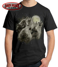 WOLF HOWL T-SHIRT Tee ~ Three Wolves Howling at the Moon ~ Portrait Wolf Pack