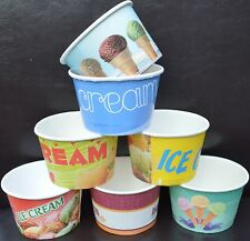 100 50 10 DISPOSABLE PAPER ICE CREAM TUBS / CUPS Scooped Gelato Paper Cup