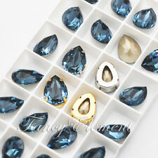 2/6/24pcs Swarovski 4320 Teardrop Denim Blue 18x13mm Crystal Sew On Rhinestones