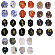 Engraved Chakra Palm Stone Crystal Reiki Healing Free Pouch Sold by 4pcs/set