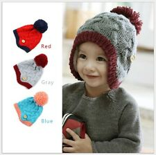 Winter Baby Kids Girl Boy Braided Knit Beanie Ear Flap Earflap Hat BA0008