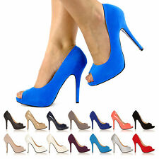 VERY SMART LOOK HIGH HEEL PEEP TOE PARTY PUMPS CELEBRITY WOMENS SHOES SIZE UK US