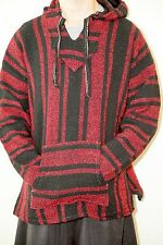 Genuine Mexican Baja hoodie red black pullover jacket unisex s m l xl poncho