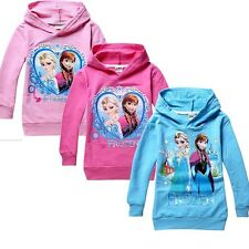 Frozen Elsa Anna Girls Hoodies Tops Shirt Kids Clothing 2-8Y Toddler Sweater NEW