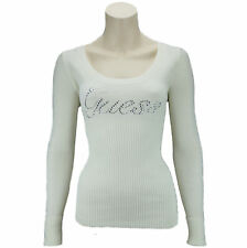 New GUESS Jumper Top Ladies Womans Knitted Cream Authentic Designer Gift S M L