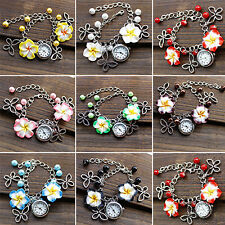 Gothic Womens Charms Watch Pendants Chain Bracelet Leather Band Wrist Watch B1CU