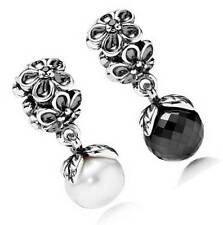 New 925 Solid Sterling Silver European White Black Viola Bloom Dangle Bead Charm