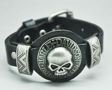 Fashion Cool Genuine Leather Bracelet Men Skull Bracelets Cuff Bangle Wristband