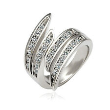 White Rose Gold Plated Austrian Crystal Fashion Angel Wings Cocktail Band Ring