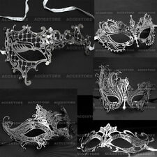 Silver Rhinestone Laser Cut Metal Venetian Mask Masquerade for Prom Ball Party