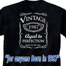 "30th BIRTHDAY WHISKEY Black T-Shirt ""Vintage 1985"" 30 year old GREAT GIFT IDEA"