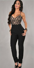 Sexy Womens Black Long Pants Bobycon Night Clubwear Plus Size Jumpsuits Rompers