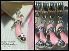 EUROPEAN OR LOBSTER CLASP CLIP ON STYLE PINK SILVER ENAMEL SHOE DANGLE CHARMS