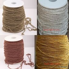 5m/100m Antique Silver/Golden Iron Curb Open Link Findings Metal Chain For Craft