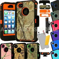Heavy Duty Hybrid Camo Rugged Hard Belt Clip Case Cover for Apple iPhone 4 4S