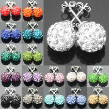 Multicolor Disco Balls/Beads Crystal Rhinestone Shamballa Ear Stud Earrings