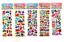 5 x OR 10 x CHILDRENS KIDS 3D CARS BIKES CRAFT REWARD STICKERS SHEETS PARTY BAG
