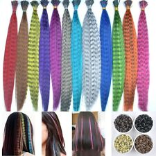 12 Colors Lady Girl's Long Synthetic Grizzly Feather Hair Extensions With Beads