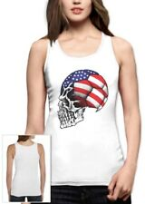 United States Flag World Cup Skull Women Tank Top USA Football Soccer 4th July