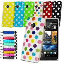 Polka Dots Gel Skin Case Cover For HTC One M7 Free Screen Protector & Stylus
