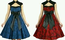 Vintage Victorian Printed Blue Pinup 50s Retro Swing Party Evening Dress N84