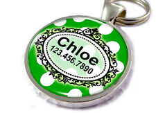 Polka Dots Customized Personalized Pet Tags Green and White Fancy