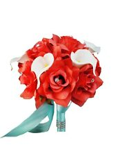 "Bouquet(8"")Coral Rose Real Touch Calla lily-""PICK RIBBON COLOR""-wedding event"